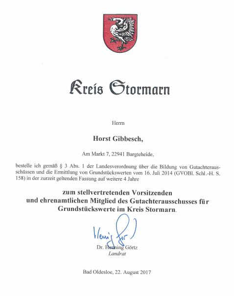 Horst Gibbesch wurde erneut zum stellvertretenden Vorsitzenden und ehrenamtlichen Mitglied des Gutachterausschusses benannt!